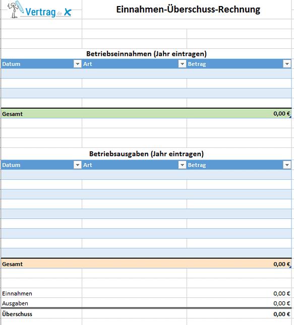 Einnahmenüberschussrechnung Beispiel - Kleinunternehmer Rechnung